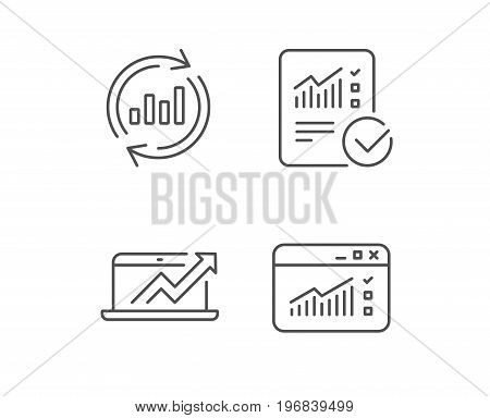 Analysis line icons. Chart, Report and Global Statistics signs. Browser window data and Presentation symbols. Quality design elements. Editable stroke. Vector