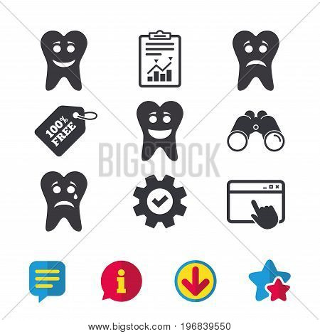 Tooth happy, sad and crying faces icons. Dental care signs. Healthy or unhealthy teeth symbols. Browser window, Report and Service signs. Binoculars, Information and Download icons. Stars and Chat
