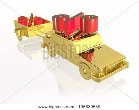 Gold car with percent signs on white reflective background 3D illustration.