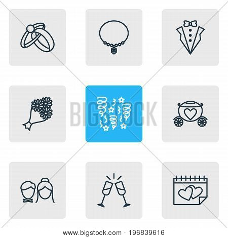 Editable Pack Of Bridegroom Dress, Bridal Bouquet, Couple And Other Elements.  Vector Illustration Of 9 Engagement Icons.