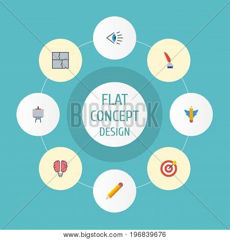 Flat Icons Pen, Pencil, Bulb And Other Vector Elements