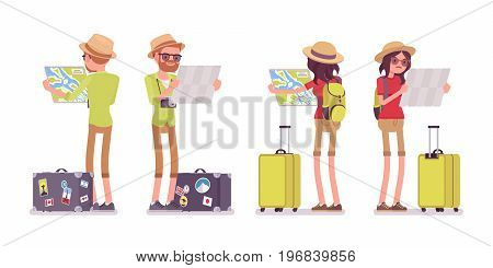 Tourist man and woman map looking. Traveling people in trip wear getting lost, planning the walking route. Front, rear view. Vector flat style cartoon illustration, isolated, white background