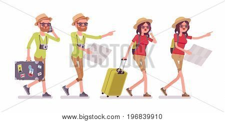 Tourist man and woman walking with map or guidebook. Traveling people in trip wear, searching for hotel or attractions, sightseeing. Vector flat style cartoon illustration, isolated, white background