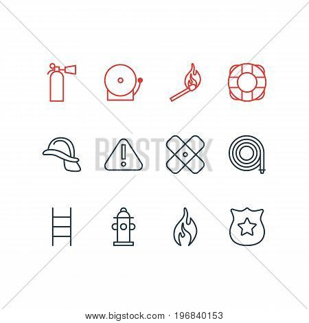 Editable Pack Of Fire, Adhesive, Lifesaver And Other Elements.  Vector Illustration Of 12 Emergency Icons.