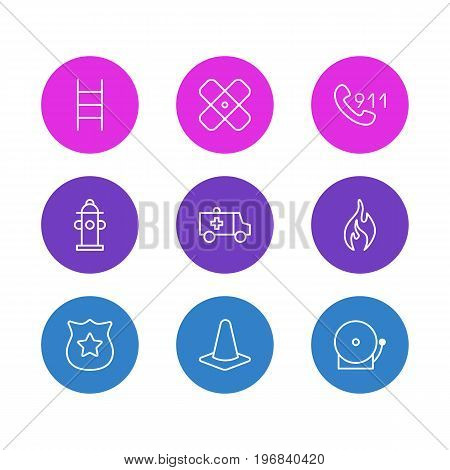 Editable Pack Of Stairs, First-Aid, Adhesive And Other Elements.  Vector Illustration Of 9 Necessity Icons.