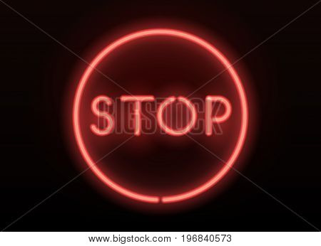 Neon stop sign. Vector realistic neon glowing letters