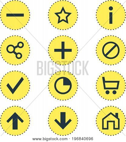 Editable Pack Of Minus, Stopwatch, Top And Other Elements.  Vector Illustration Of 12 Member Icons.