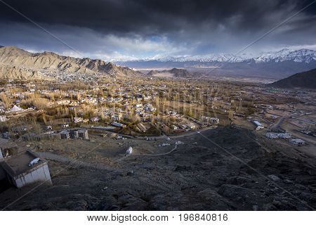 The city of Leh, Capital of Ladakh located in the North India. Viewed from Leh Palace