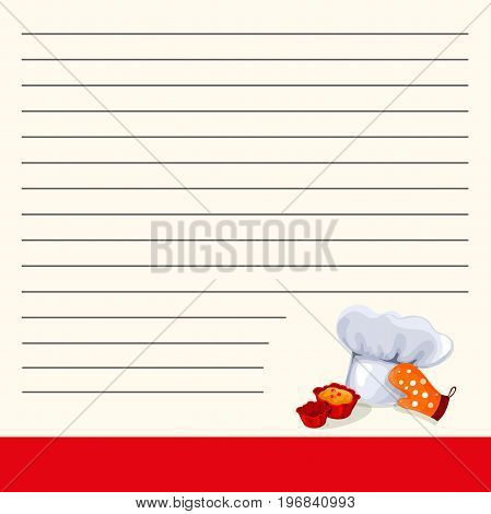 Recipe notebook. Chef chef s hat and mitten. Sticker yellow note. Isolated. A cookbook for writing