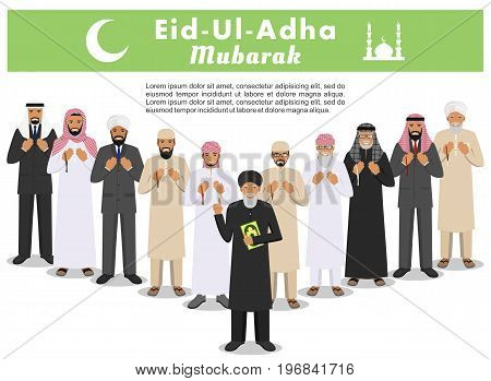 Muslim holiday Eid al-Adha. Feast of the Sacrifice. Islamic people standing together with beads in hands and pray. Mufti with quran. Vector illustration.