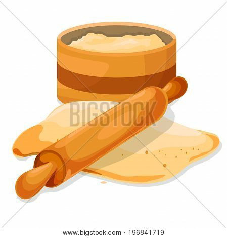 Flour in bowl with Dough, rolling pin. Vector illustration