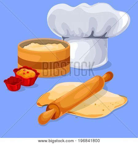 Dough and rolling pin on a wooden board. Chef Chef Cap. Baking cupcakes. Design elements for your banner