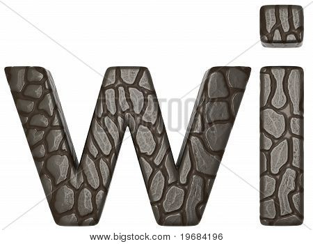 Alligator Skin Font W And I Lowercase Letters
