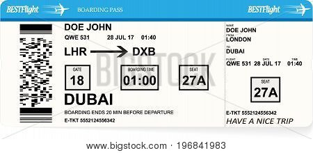 Design of aircraft boarding pass ticket. Concept of business trip or vacation journey. Isolated vector illustration