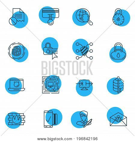 Editable Pack Of Safety Key, Data Security, Copyright And Other Elements.  Vector Illustration Of 16 Protection Icons.