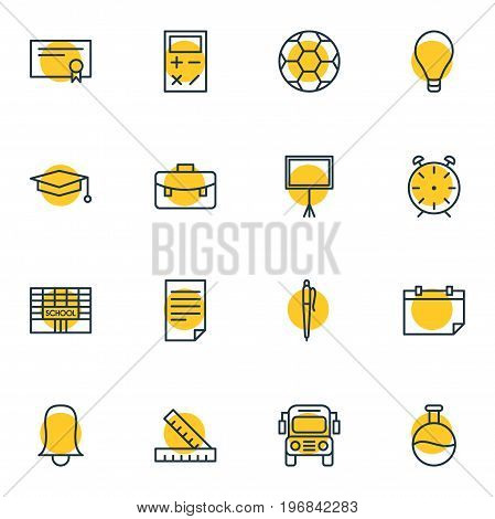 Editable Pack Of Meter, School, Portfolio And Other Elements.  Vector Illustration Of 16 Education Icons.
