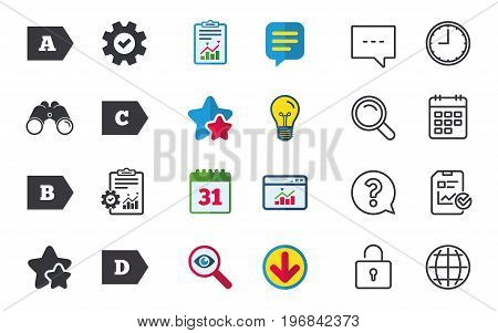 Energy efficiency class icons. Energy consumption sign symbols. Class A, B, C and D. Chat, Report and Calendar signs. Stars, Statistics and Download icons. Question, Clock and Globe. Vector