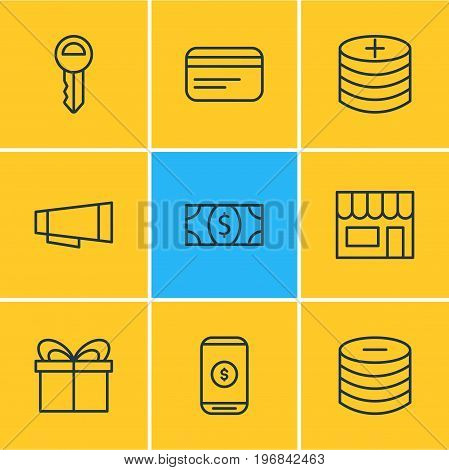 Editable Pack Of Plus, Clef, Payment And Other Elements.  Vector Illustration Of 9 Trading Icons.