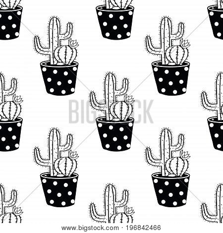 Vector Black And White Seamless Pattern With Cactuses In Pots. Modern Scandinavian Design