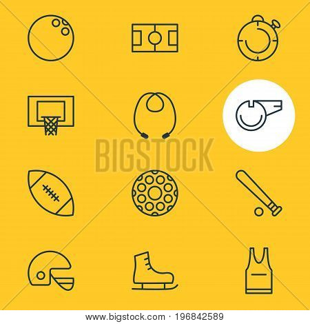 Editable Pack Of Football, Touchdown, Ice Boot And Other Elements.  Vector Illustration Of 12 Sport Icons.