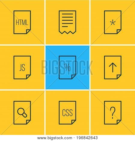 Editable Pack Of Style, Script, Folder And Other Elements.  Vector Illustration Of 9 Paper Icons.