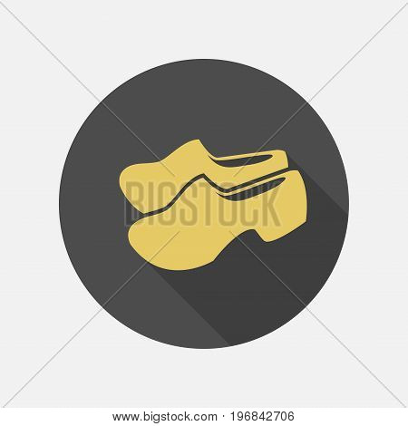 Traditional dutch wooden shoes. Vector sign for web graphics.