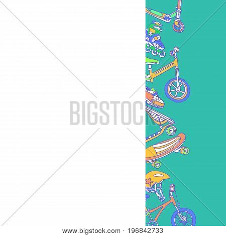 Template. Set of sporting goods. Place for text. Vector illustration. Copy space. Scooter rollers skate bicycle helmet . Summer children's holiday