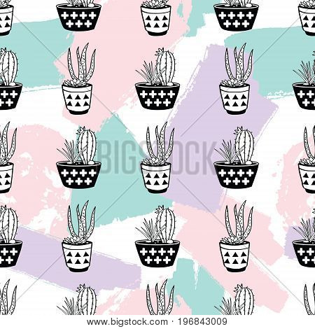 Vector Hand Drawn Seamless Pattern With Geometric And Brush Painted Elements, Cactuses And Succulent
