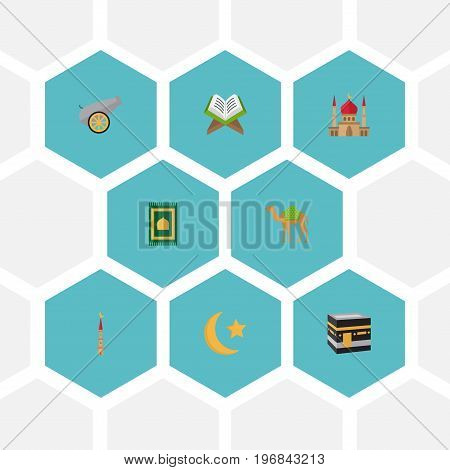 Flat Icons Minaret, Dromedary, New Lunar And Other Vector Elements