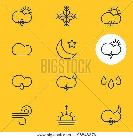 Editable Pack Of Weather, Cloudy, Snowflake And Other Elements.  Vector Illustration Of 12 Weather Icons.