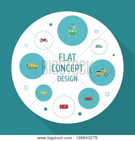 Flat Icons Automotive, Transport, Scooter And Other Vector Elements