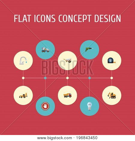 Flat Icons Bulb, Electric Screwdriver, Roll Meter And Other Vector Elements