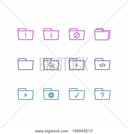 Editable Pack Of Plus, Document Case, Script And Other Elements.  Vector Illustration Of 12 Document Icons.