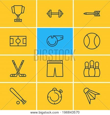 Editable Pack Of Uniform, Barbell, Goblet And Other Elements.  Vector Illustration Of 12 Fitness Icons.
