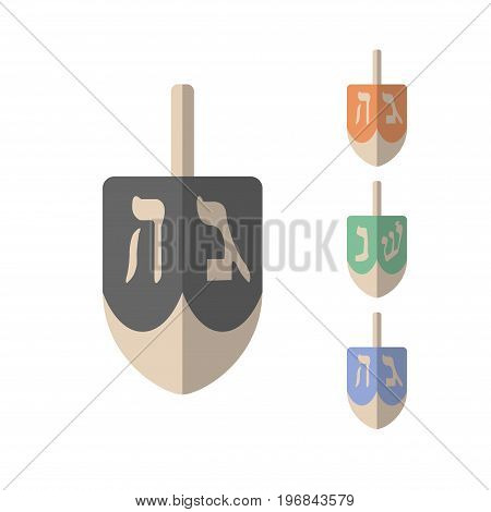 vector chanukah dreidels in various colors. Vector signs for web graphics.