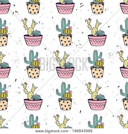 Vector Colorful Hand Drawn Seamless Pattern With Cactuses And Succulents In Pots On Grunge Texture.