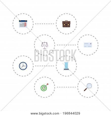 Flat Icons Portfolio, Goal, Office And Other Vector Elements