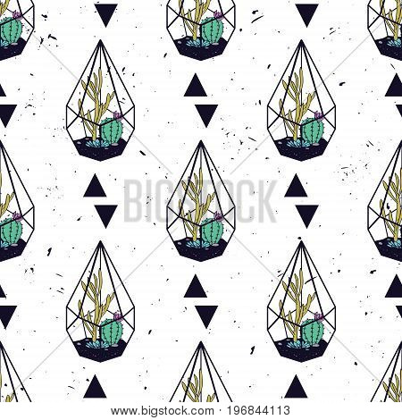 Vector Colorful Hand Drawn Seamless Pattern With Triangles, Cactuses And Succulents In Terrariums On