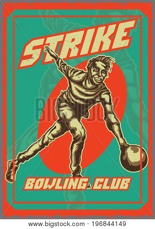 T-shirt or poster design with illustraion of bowling player