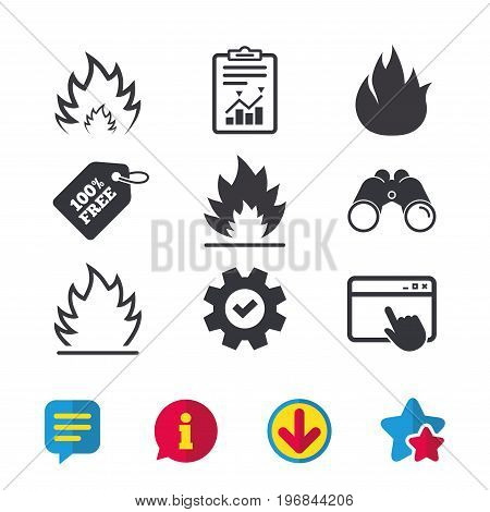 Fire flame icons. Heat symbols. Inflammable signs. Browser window, Report and Service signs. Binoculars, Information and Download icons. Stars and Chat. Vector