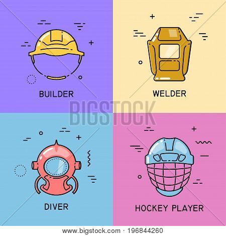 Vector set of flat line icons with shift fill of helmets of builder welder diver hockey player on colorful background.