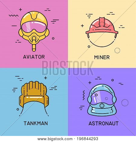 Vector set of flat line icons with shift fill of helmets of a aviator miner tankman astronaut on colorful background.