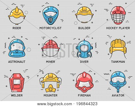 Set of color flat line vector icons of professional head wear for professions: tank crew aviator astronaut fireman diver miner builder hockey player motorcyclist rider welder mounter