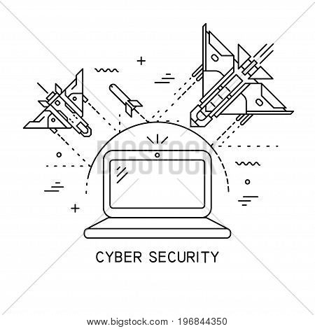 Vector thin line illustration on the theme of cyber security attack hacking. The laptop is protected from attacks of fighter planes and bombs.