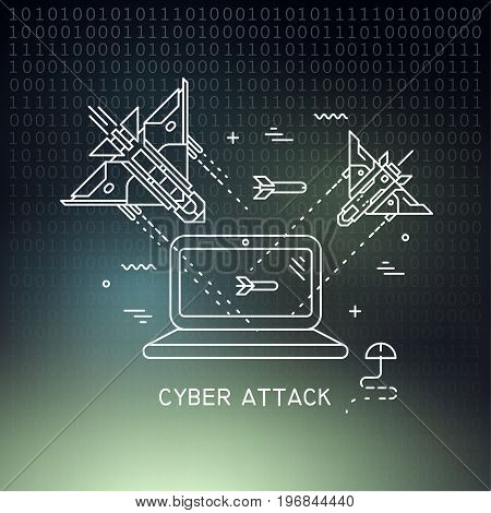 Vector thin line illustration on the theme of cyber attack hacking. Fighter planes flying and shooting at the laptop on dark mesh background.