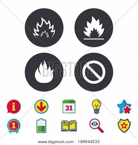 Fire flame icons. Prohibition stop sign symbol. Calendar, Information and Download signs. Stars, Award and Book icons. Light bulb, Shield and Search. Vector
