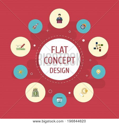 Flat Icons Design, Bulb, Show And Other Vector Elements
