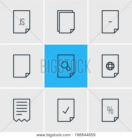 Editable Pack Of Copy, Folder, File And Other Elements.  Vector Illustration Of 9 File Icons.