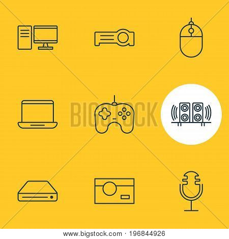 Editable Pack Of Computer, Cursor Controller, Memory Storage And Other Elements.  Vector Illustration Of 9 Accessory Icons.