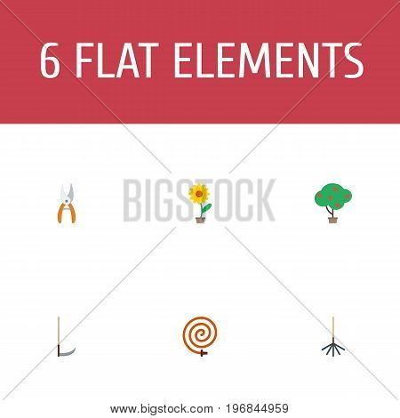 Flat Icons Cutter, Green Wood, Garden Hose And Other Vector Elements